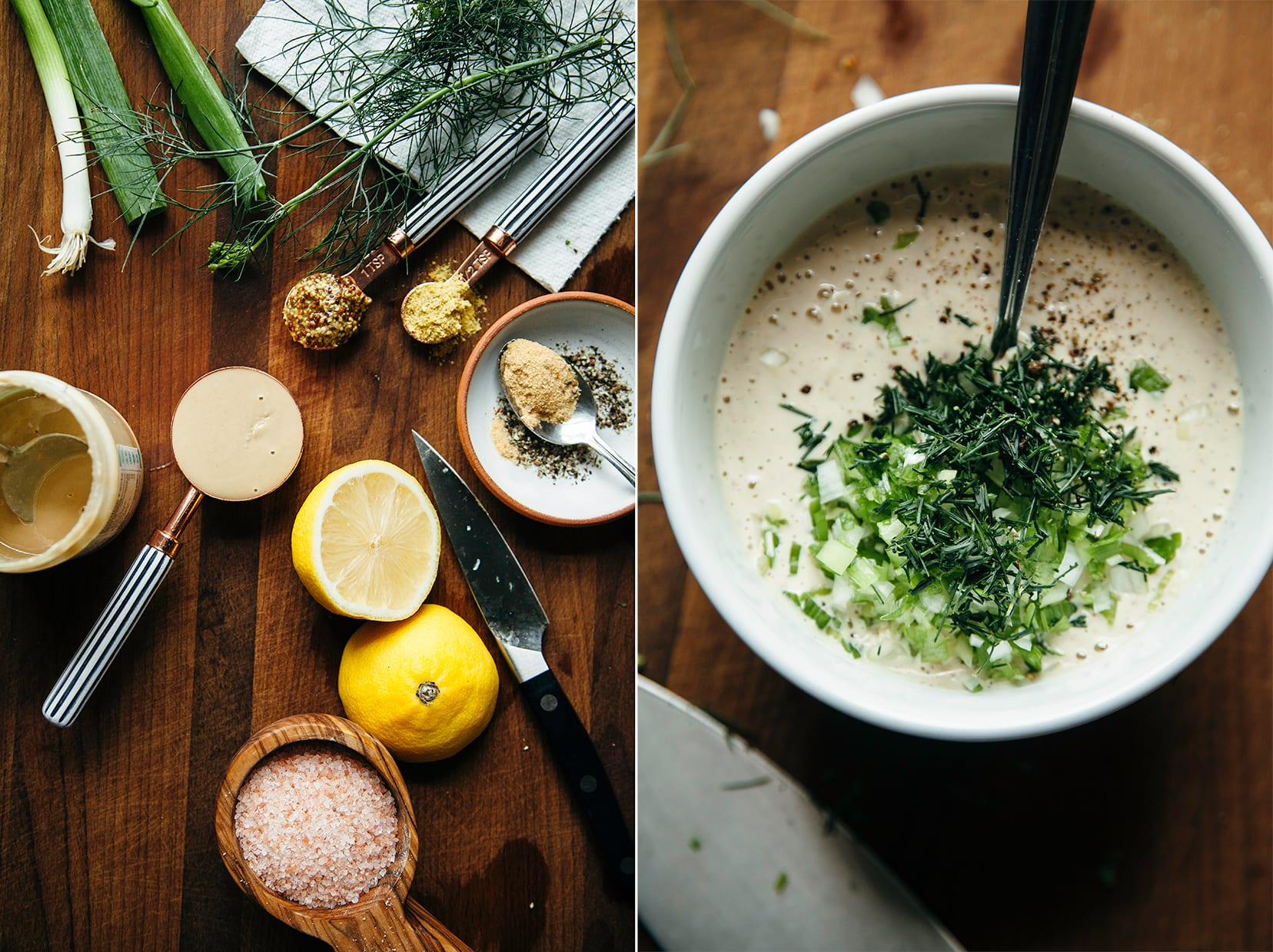 Two images show the ingredients for a tahini ranch dressing and the mixed up bowl of the actual dressing.