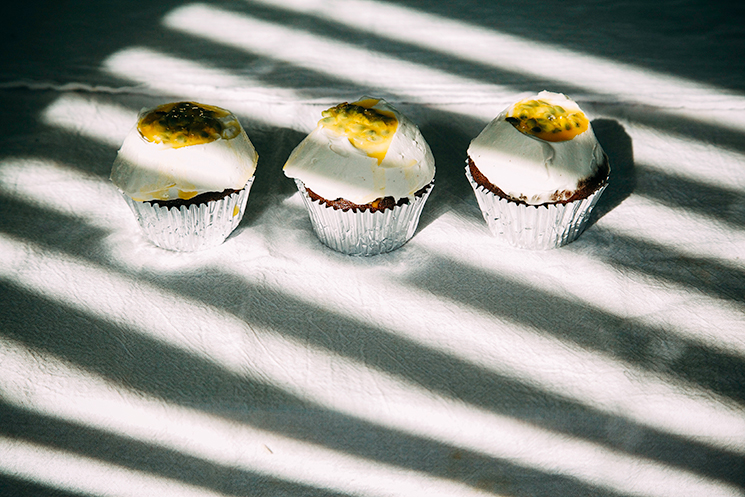 vegan chocolate passionfruit cupcakes + coconut cream frosting // www.thefirstmess.com