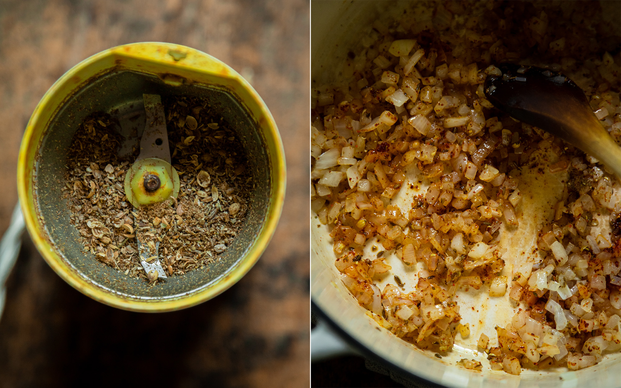 Two images show spices in a grinder and some sautéed onions with spices.