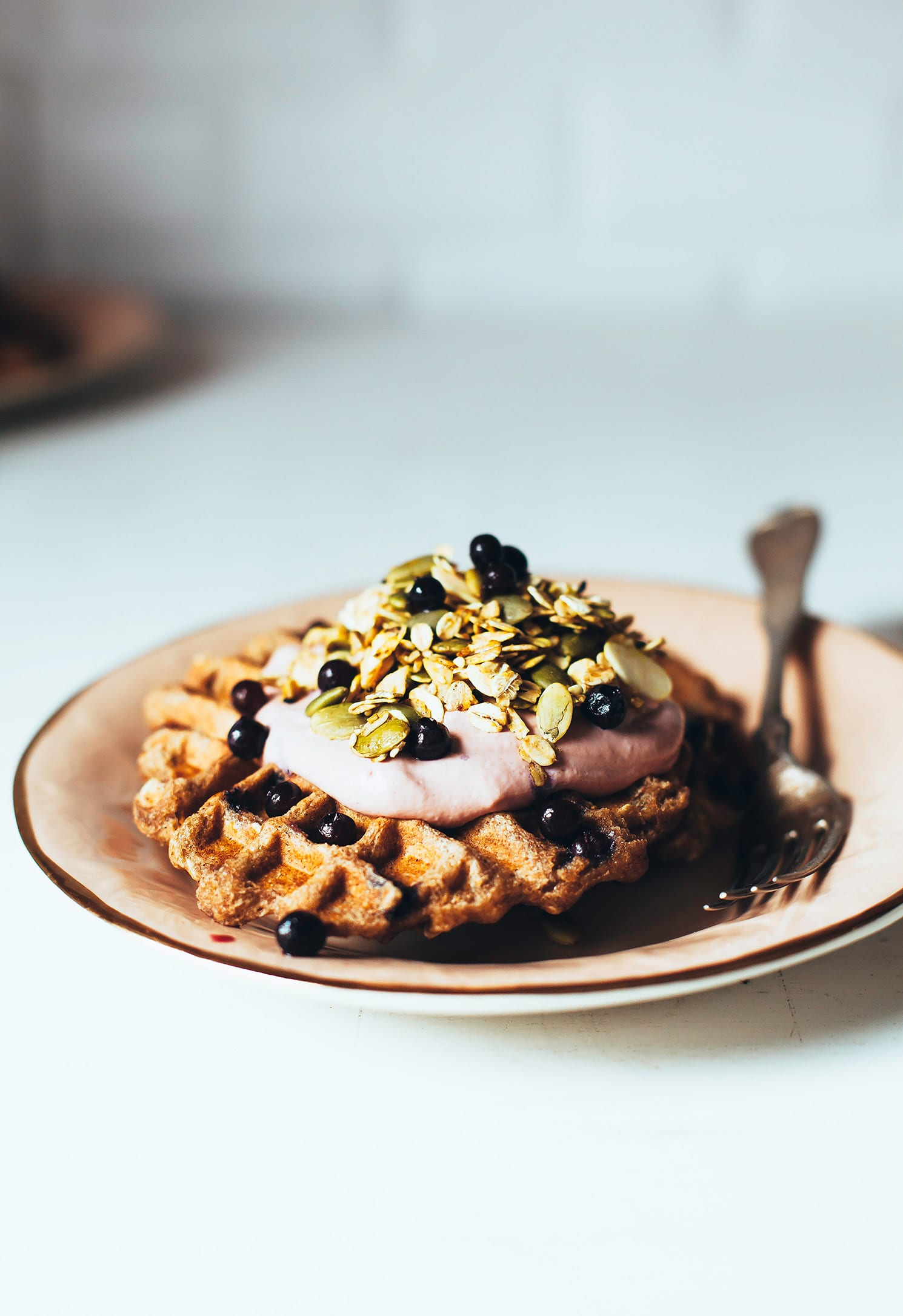 blueberry spelt waffles w/ rhubarb cashew cream & turmeric granola (vegan) - The First Mess