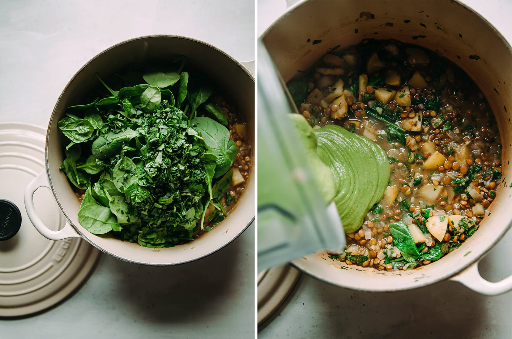 Images show a soup pot with a bunch of greens added and also a green purée being added to a broth soup.