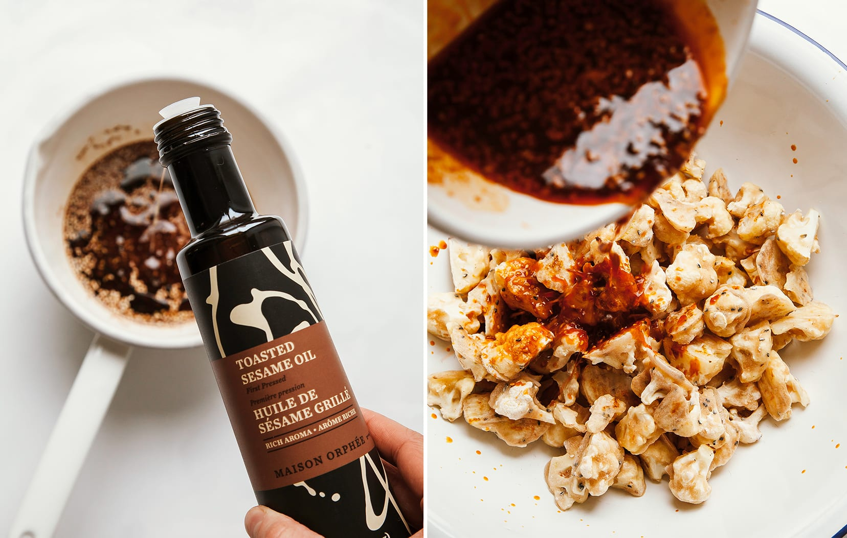 Two images show: toasted sesame oil being poured into a pot and also a spicy red sauce being poured on top of cauliflower.