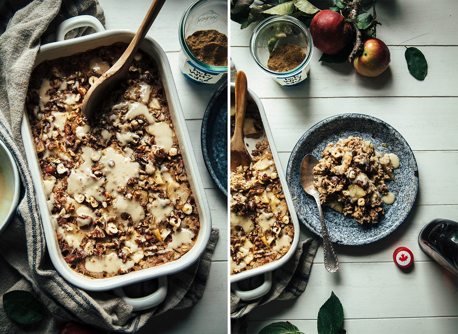Two images show baked oatmeal in a baking dish, drizzled with a creamy sauce + an individual serving of the oatmeal spooned out onto a blue enamelware plate.