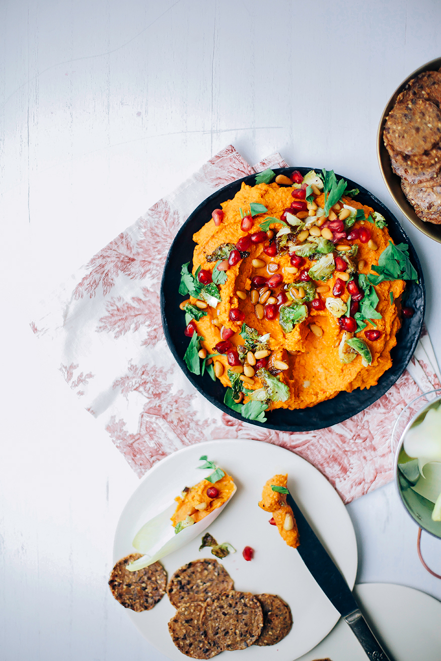 Roasted carrot harissa dip with chickpeas.
