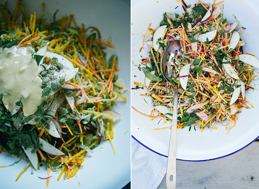 shredded brussels sprouts + fall veg salad w/ garlicky orange tahini dressing