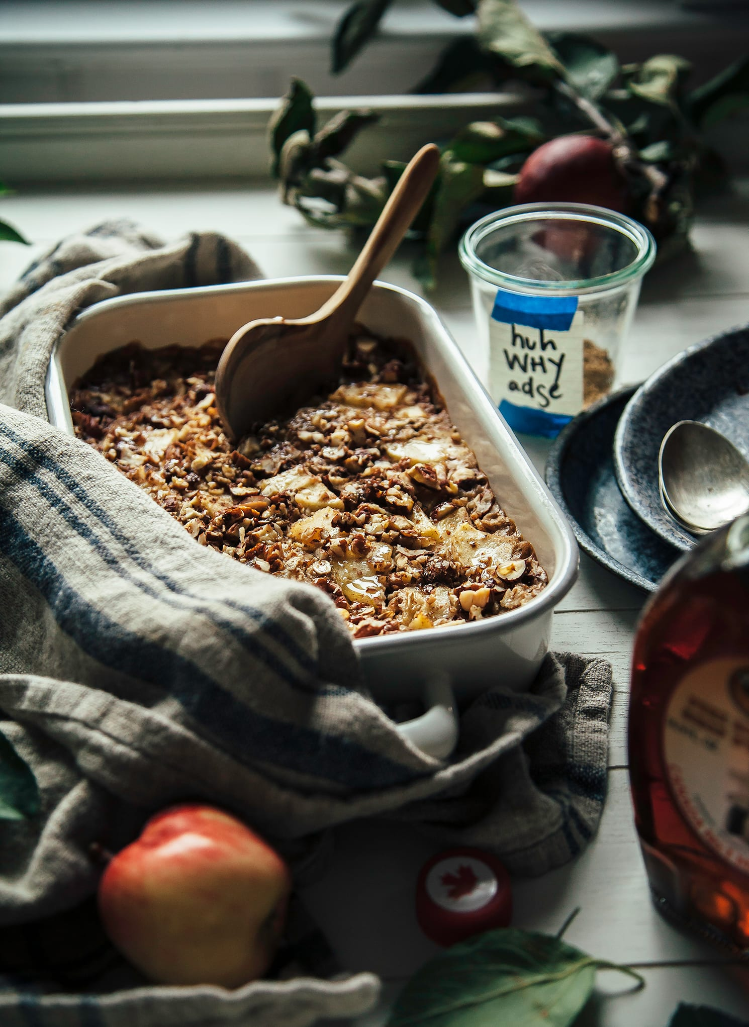 A 3/4 angle shot of a dish of baked oatmeal.