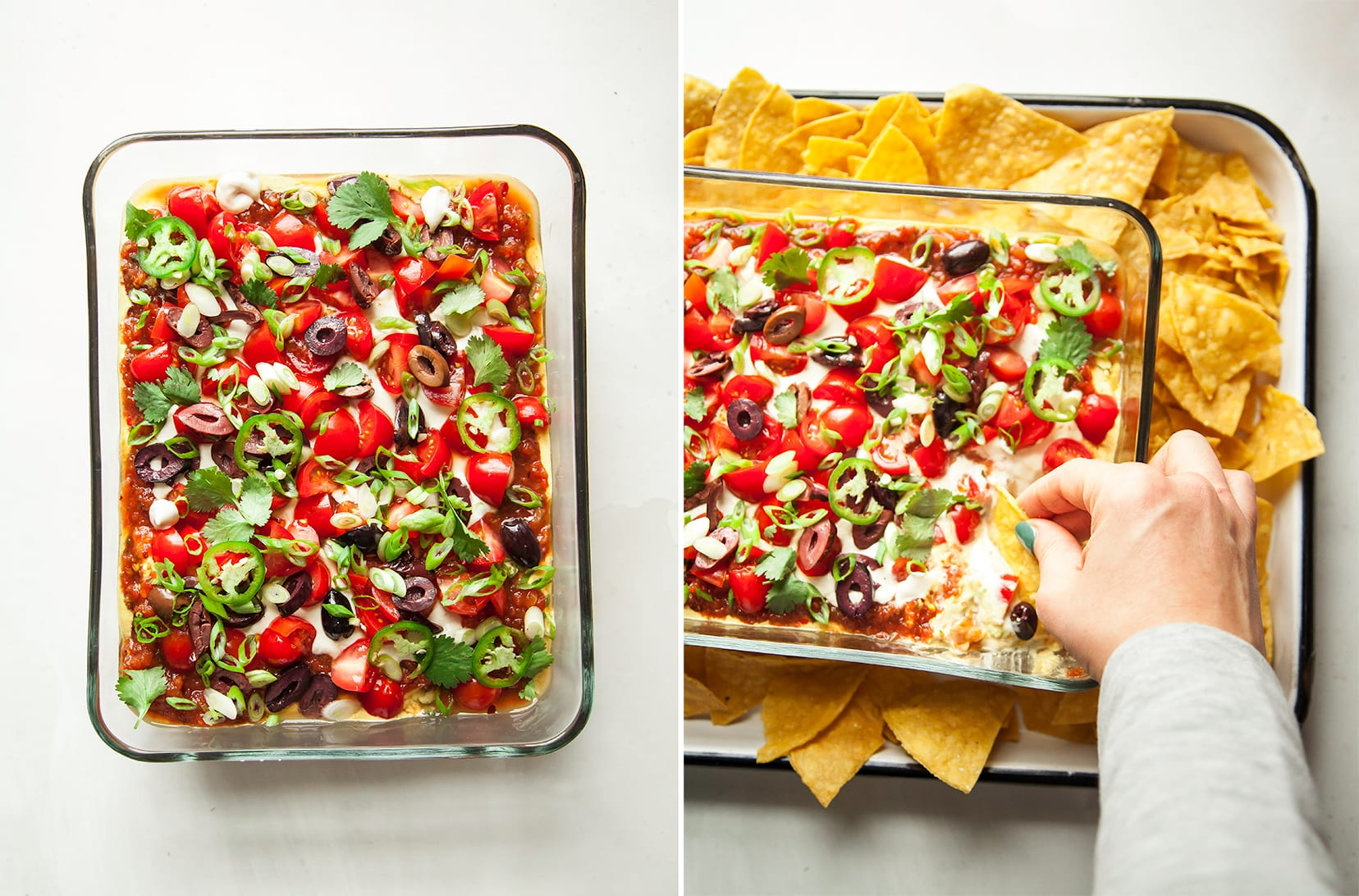 An overhead shot of vegan seven layer dip in two photos. In one photo, a hand is using a chip to dip.