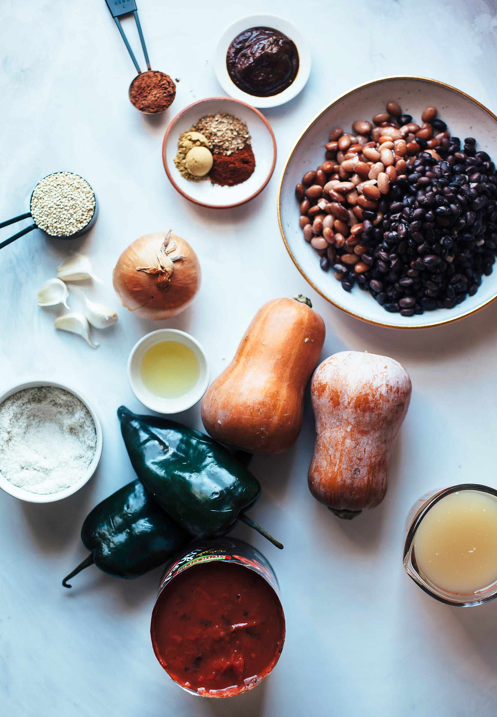 An overhead shot of ingredients for a vegan chili.
