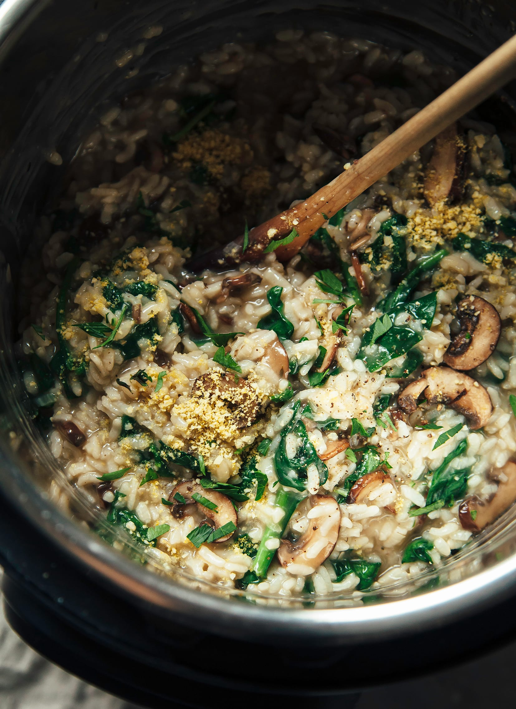 VEGAN INSTANT POT MUSHROOM RISOTTO WITH SPINACH & MISO