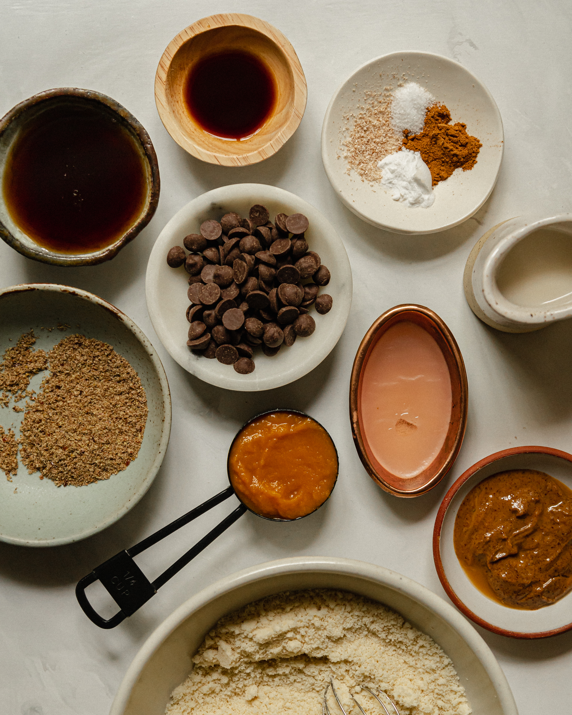 An overhead shot of ingredients used for a vegan and grain free cookie recipe.