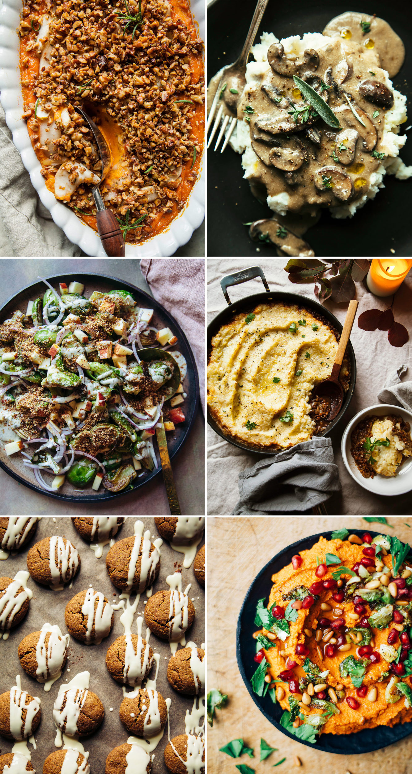 6 images in a grid show overhead shots of: a sweet potato casserole topped with nuts, creamy mushroom gravy on top of mashed potatoes, a brussels sprouts salad with creamy dressing and apples, a shepherd's pie cooke din a skillet, ginger cookies drizzled with melted white chocolate, and a bright orange carrot dip topped with herbs and pomegranate seeds.
