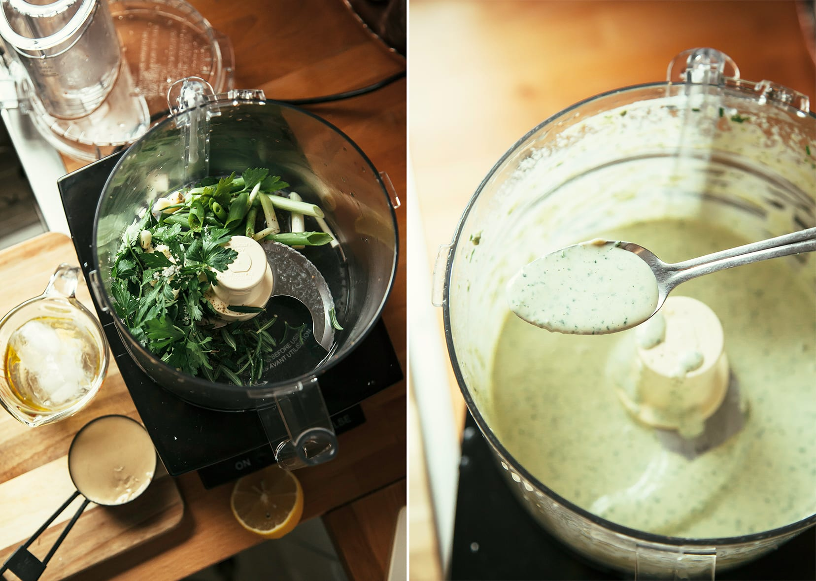 Two images show the ingredients for an herbed tahini sauce in the food processor and a completed, smooth and creamy sauce after blending.