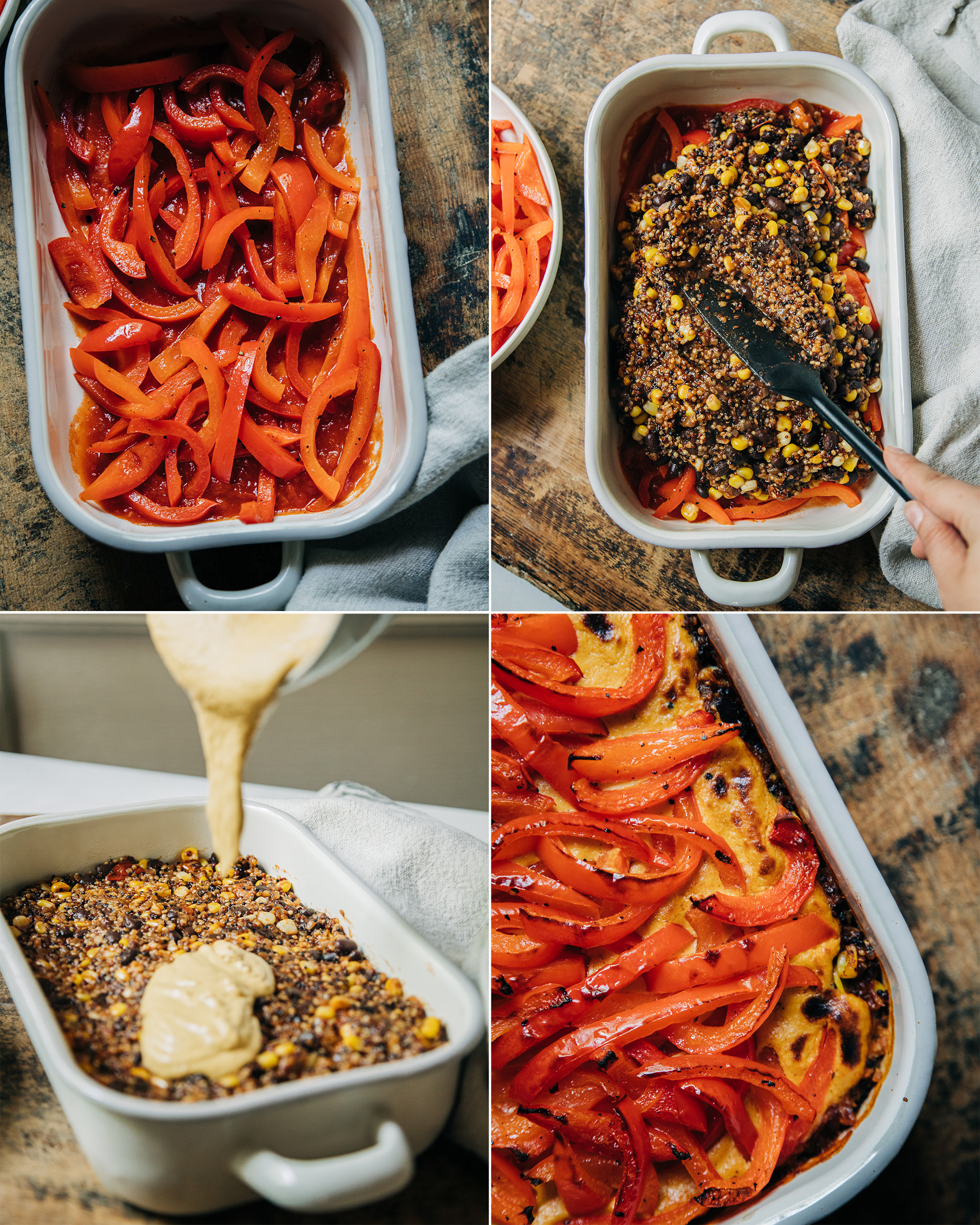 4 images show the layering of a vegan stuffed pepper casserole.
