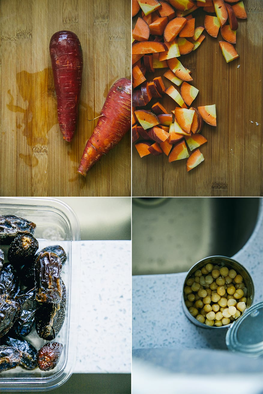 Four prep photos for this vegetable stew: 2 deep red heirloom carrots on a cutting board, the carrots chopped on the cutting board, a container of Medjool dates in a white background, and an open can of chickpeas near a stainless steel sink.