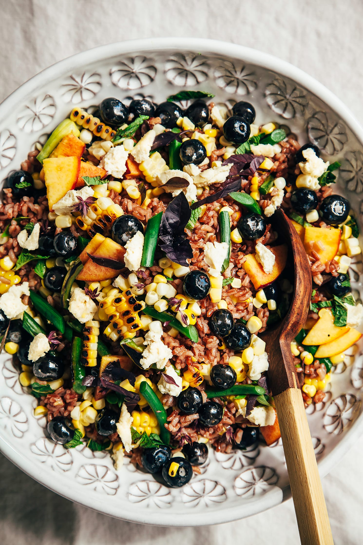 "summer picnic salad with blueberries & vegan ""feta"" - The First Mess"