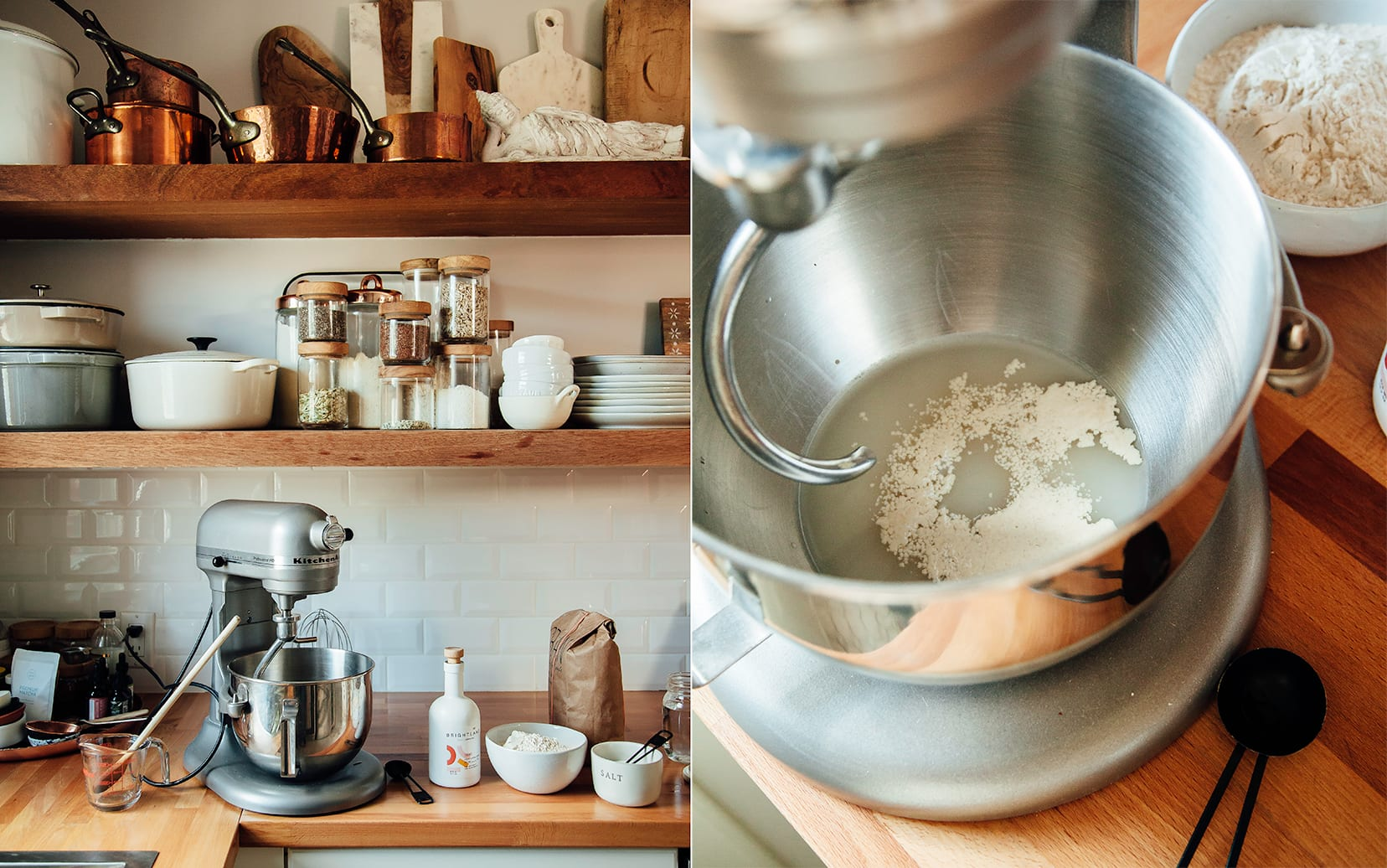 Two photos are shown. One shows a stand mixer on the counter in a kitchen with ingredients for pizza dough nearby. The other photo is an overhead shot that shows yeast blooming in water inside the bowl of a stand mixer.
