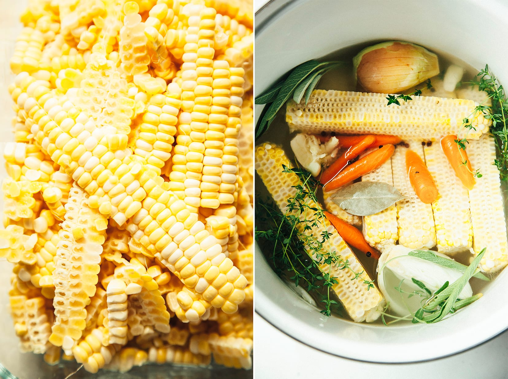 2 photos: one of fresh corn kernels up close, and one overhead shot of some vegetable stock being made in a white stock pot.