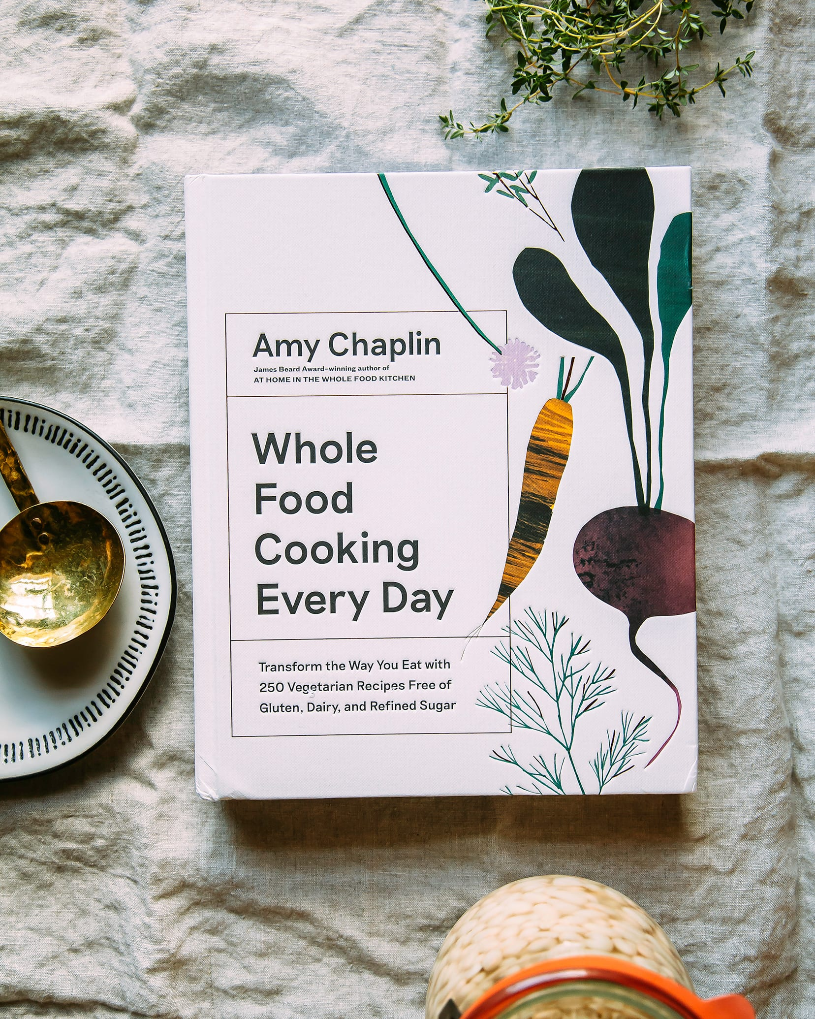 """An overhead shot of """"Whole Food Cooking Every Day"""" cookbook by Amy Chaplin"""