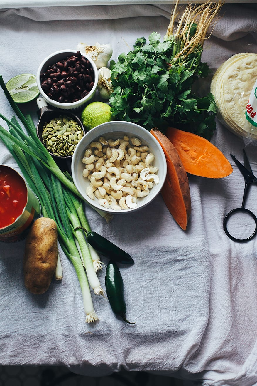 ingredients for cozy vegan enchiladas w/ lime cream // www.thefirstmess.com