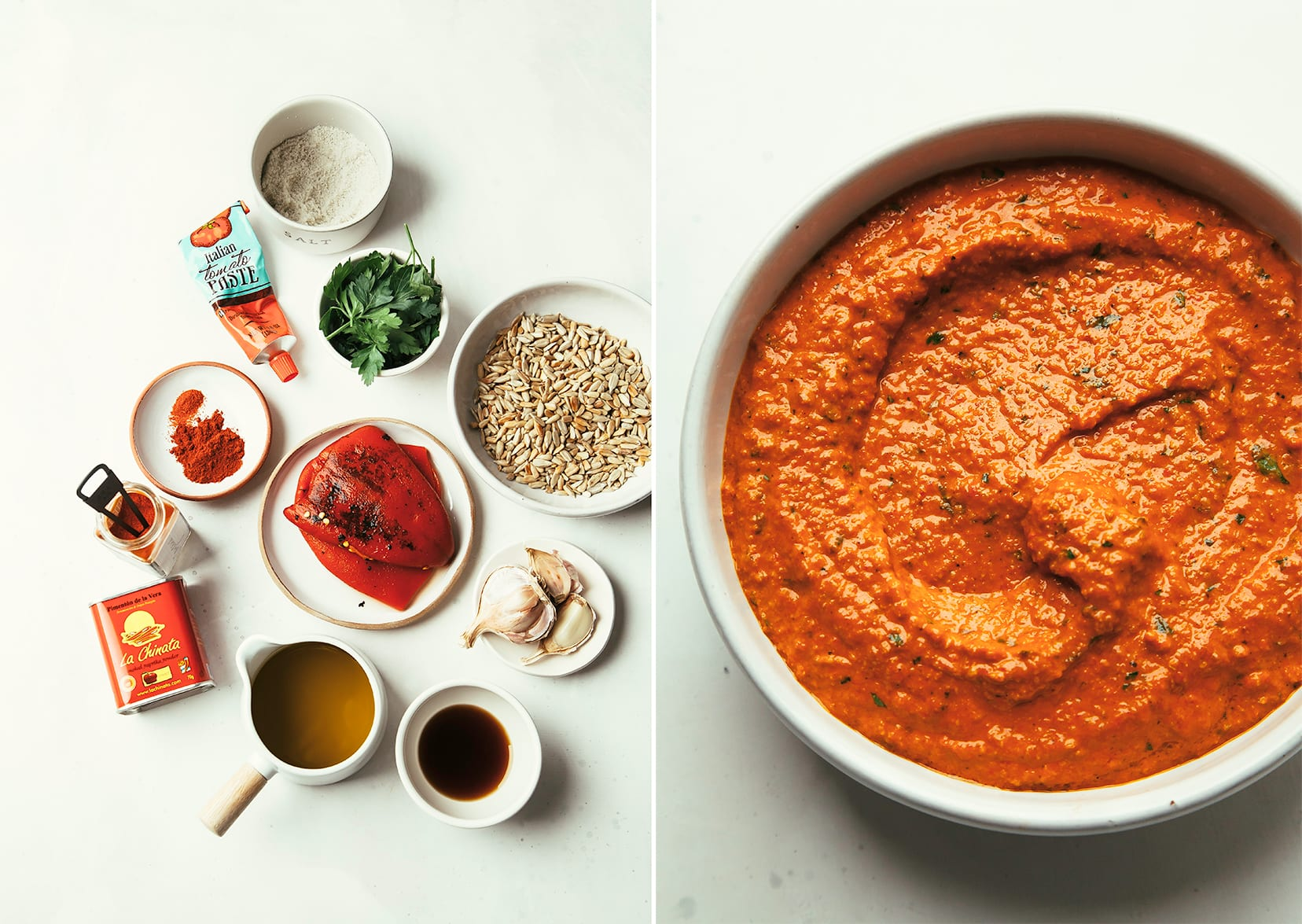 Two images show the ingredients for romesco sauce and also the completed, smooth and light red romesco sauce in a bowl.
