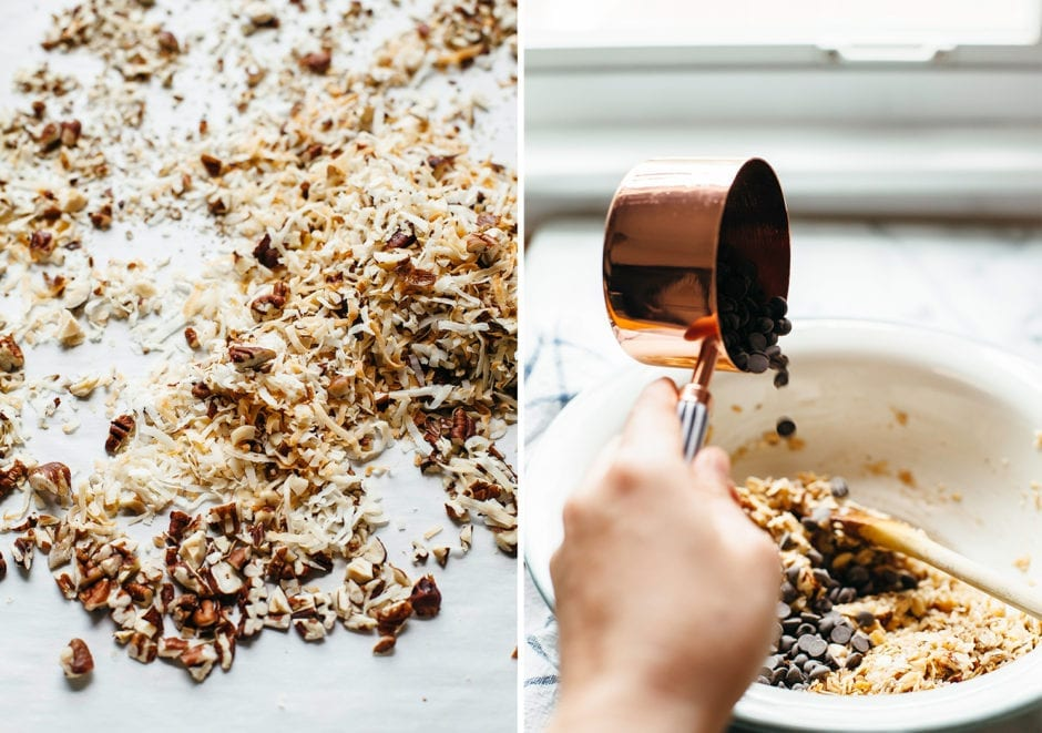 Two images show the dry ingredients of cookies all mixed together + a hand pouring chocolate chips into a bowl from a measuring cup.