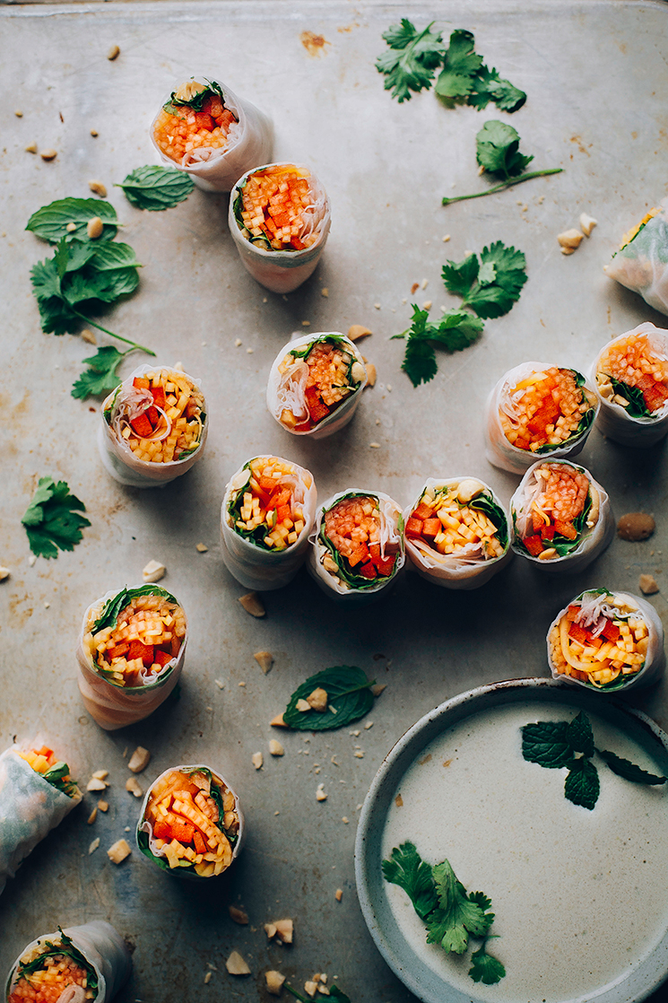 so fresh: papaya salad rolls via thefirstmess.com