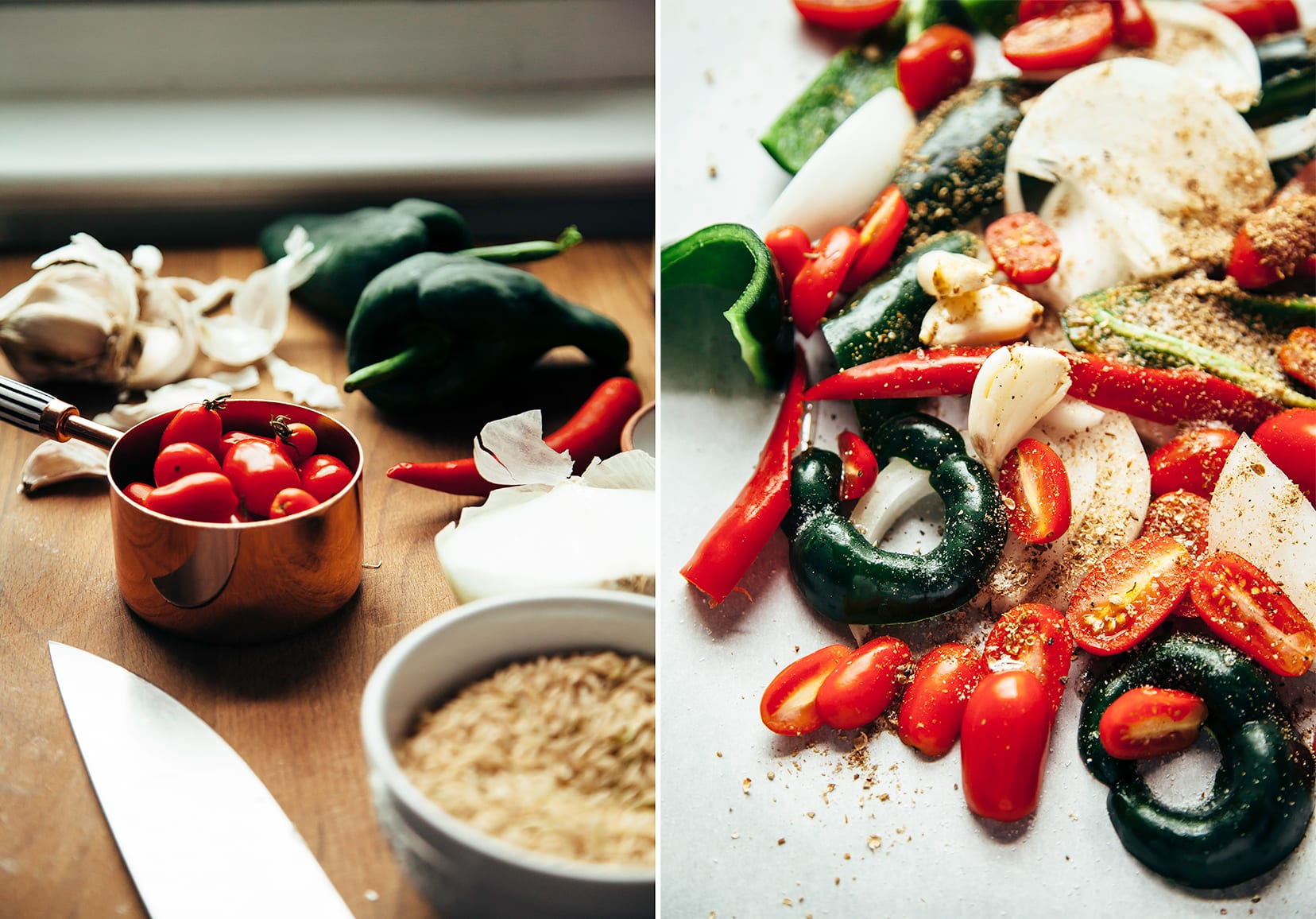 Two images show cherry tomatoes being measured and a bunch of chopped peppers, onions, and tomatoes on a parchment-lined baking sheet.