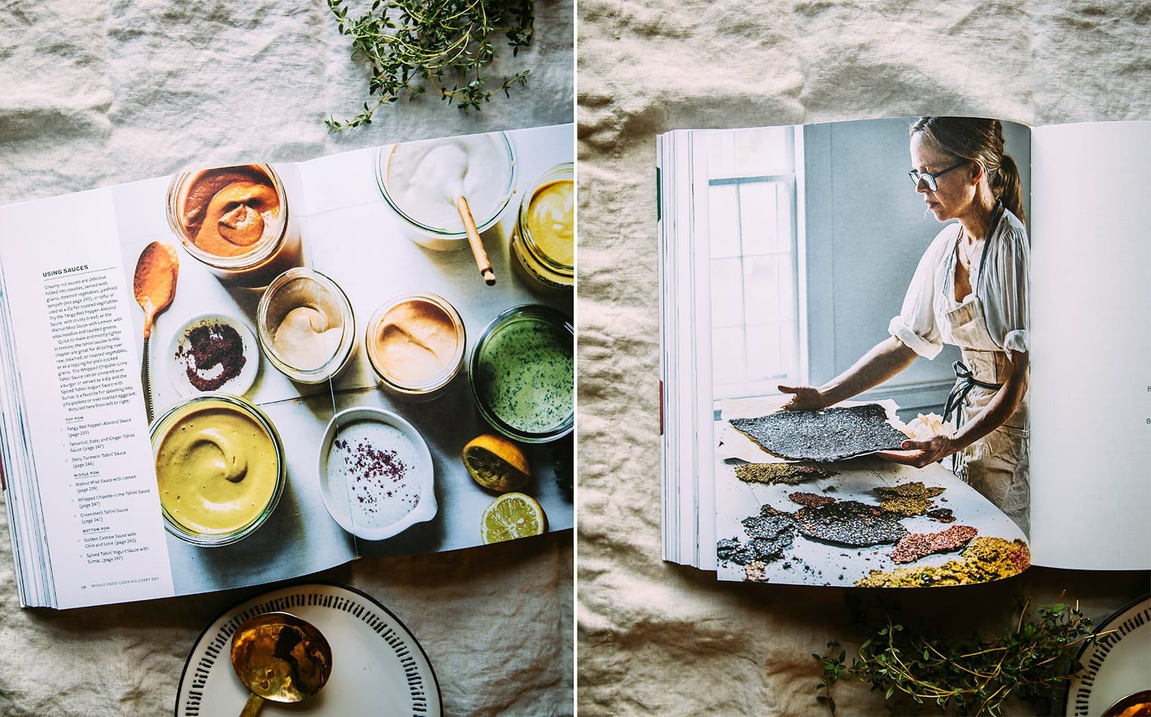 Two images show interior pages of the cookbook.