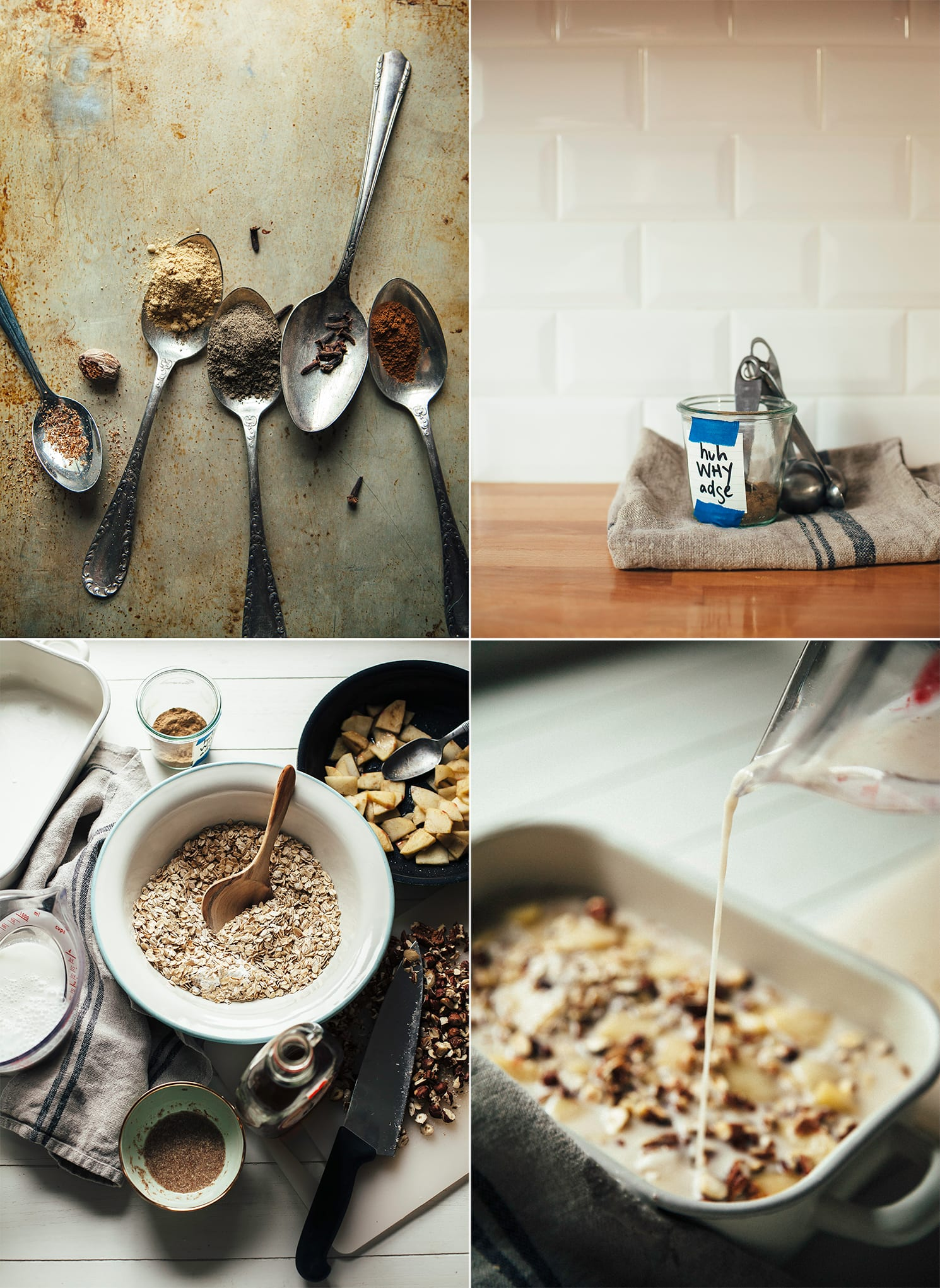 4 images show: spoons with ground spices, a jar of hawaij spice blend, an overhead shot of baked oatmeal ingredients, and non-dairy milk being poured into a baking dish with oatmeal and nuts inside.