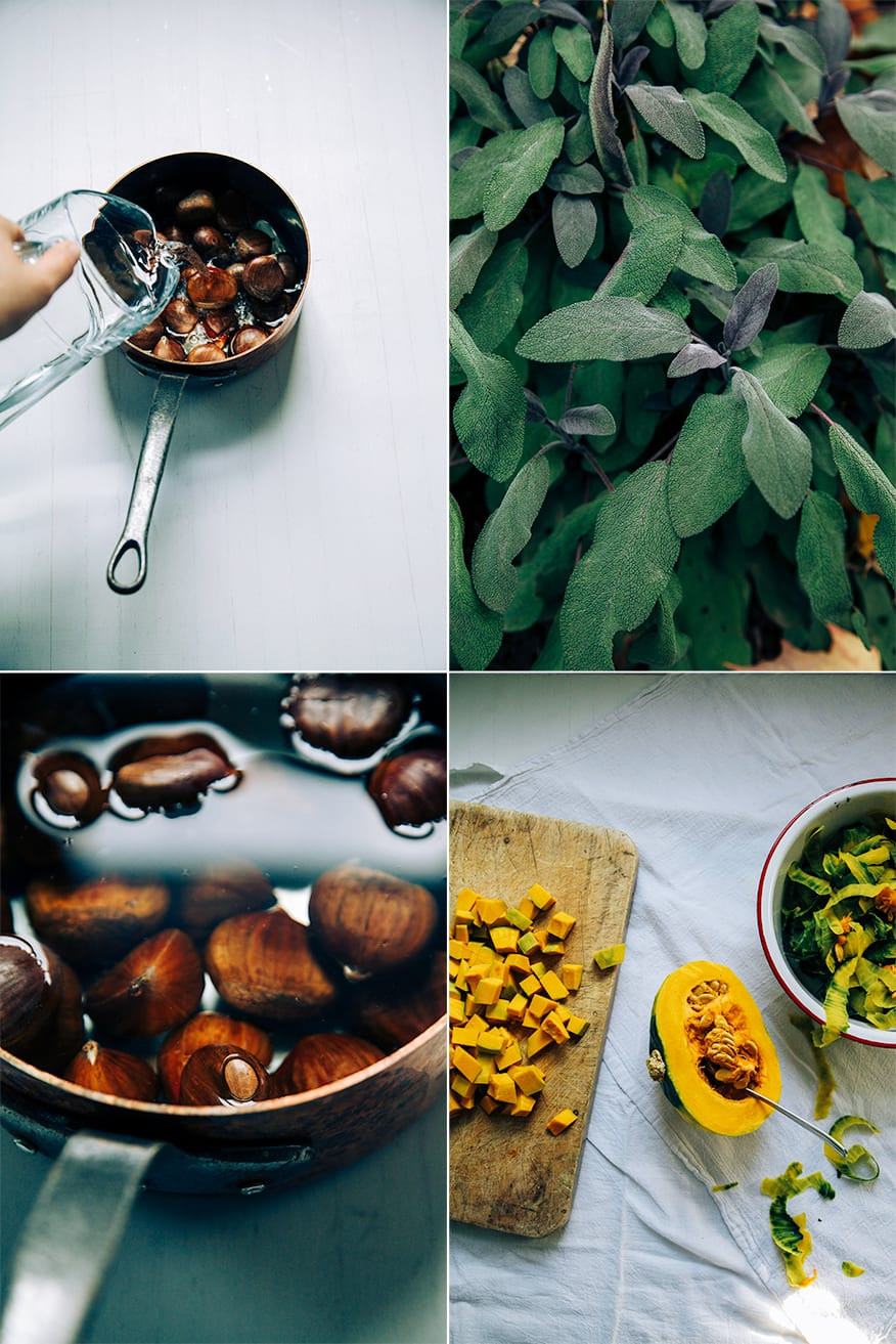 4 photos in a grid: 1 of chestnuts in a copper pot being covered with water, one up close shot of a red sage plant, one shows a pot of chestnuts submerged in water up close, and the last one shows a halved kabocha squash with diced squash on the side.
