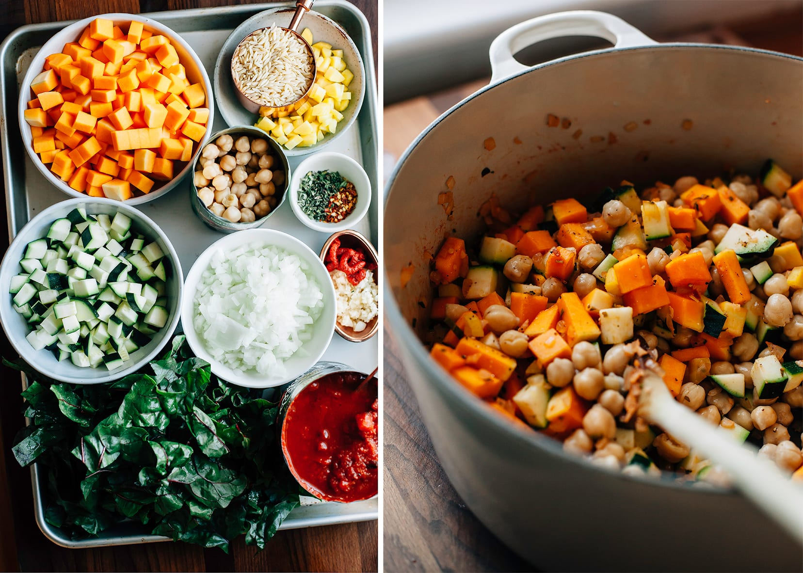 Side by side: all prepped and chopped ingredients for a butternut minestrone in little bowls set in a baking sheet. The other photo shows the vegetables for the soup being sautéed in a Dutch oven.