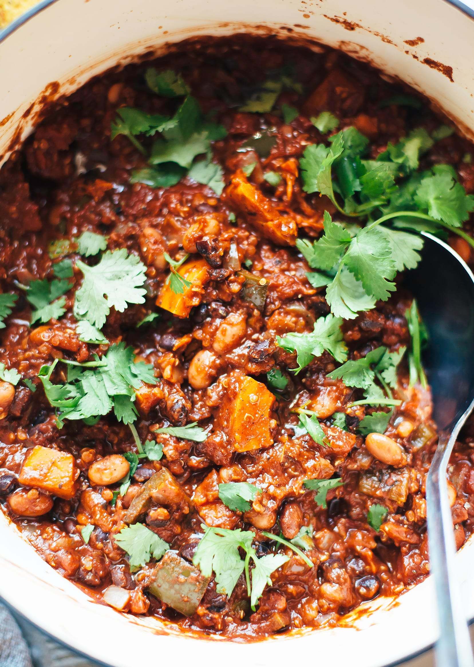 SMOKY SQUASH CHILI WITH QUINOA, PINTO & BLACK BEANS - The First Mess