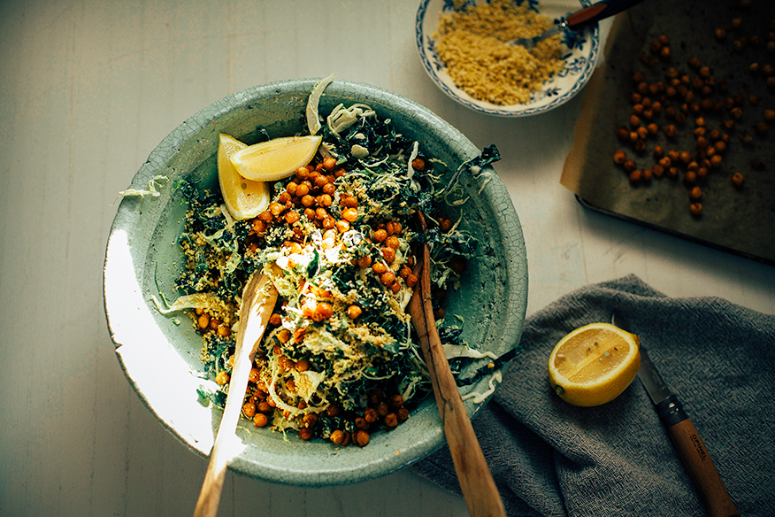 "Brussels Sprout Caesar Slaw with Kale, Chickpeas & Pine Nut ""Parm"""