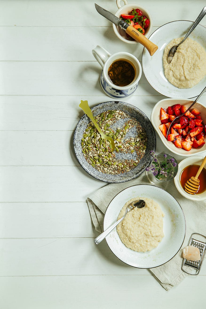 vanilla bean millet porridge w/ lavender strawberries + super seeds {via The Homemade Flour Cookbook} // the first mess