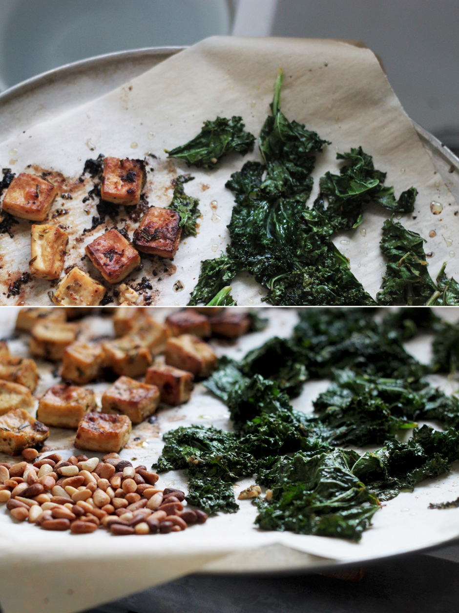 Chili and Lemon Roasted Tofu with Kale & Pine Nuts
