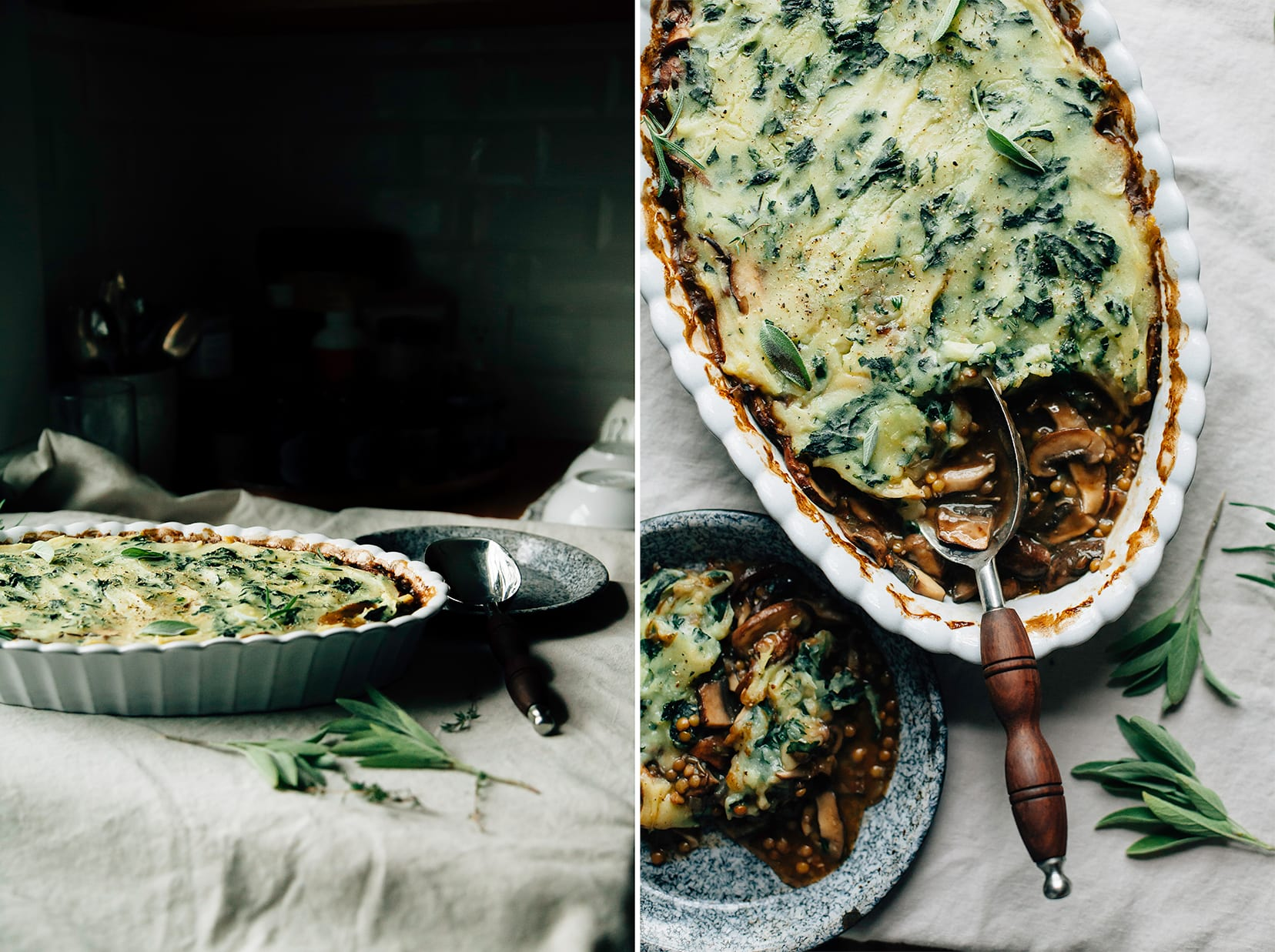 Two images of a mushroom gravy pie topped with kale mashed potatoes in a baking dish, from two different angles.