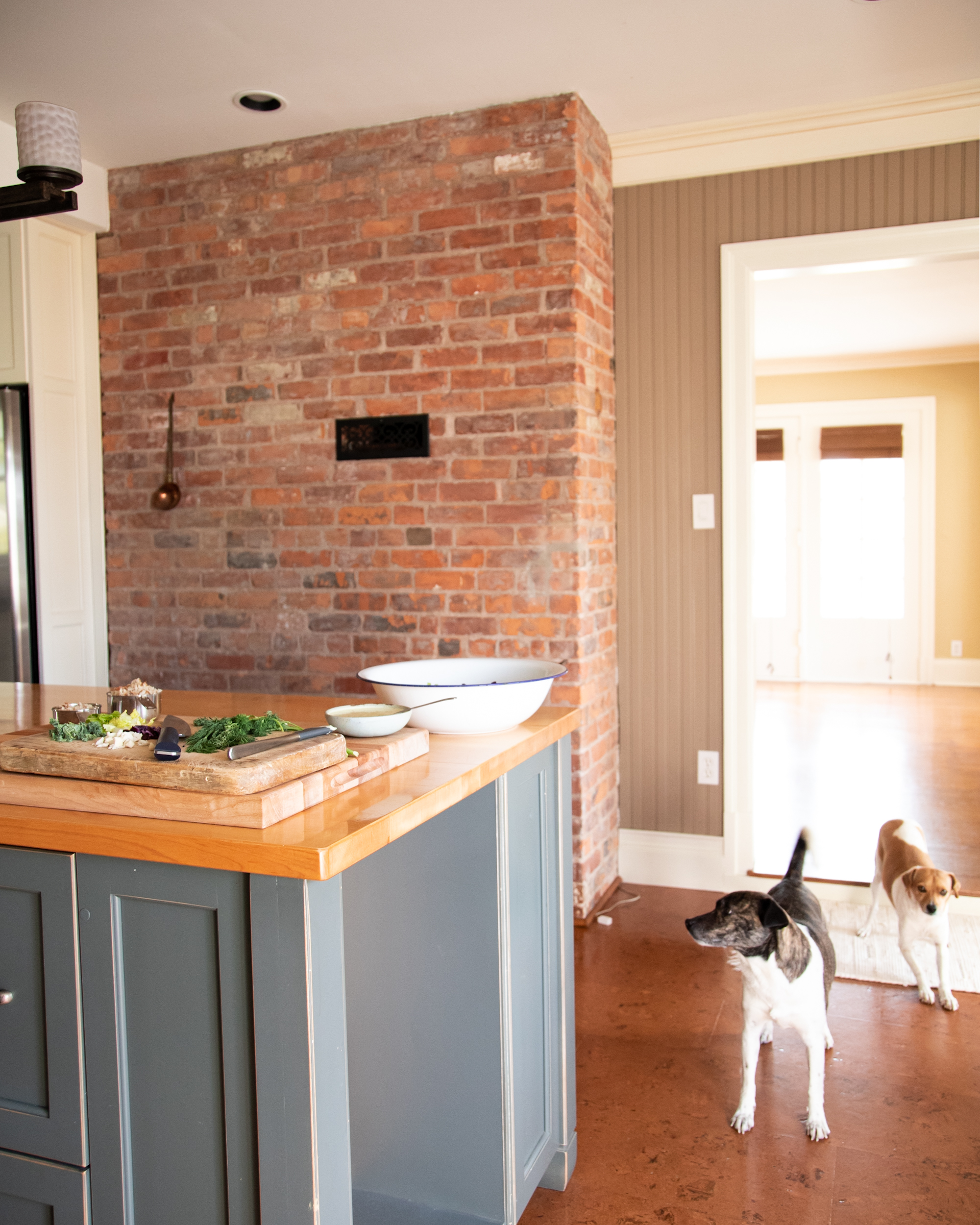 Image shows a kitchen scene with a brick wall and two very cute, small dogs hanging around to the side.