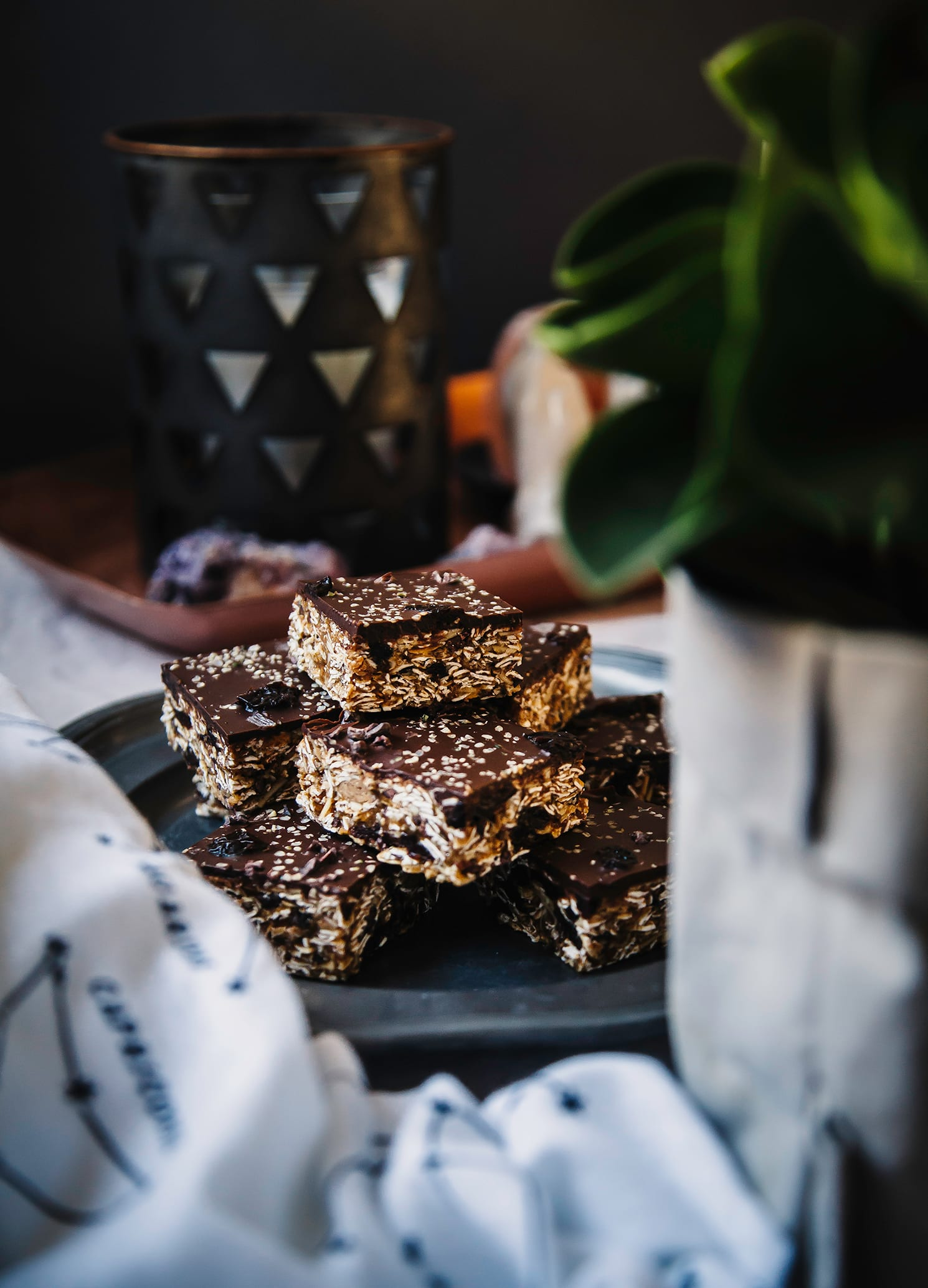 no-bake oat bars with sour cherries, hemp & chocolate - The First Mess