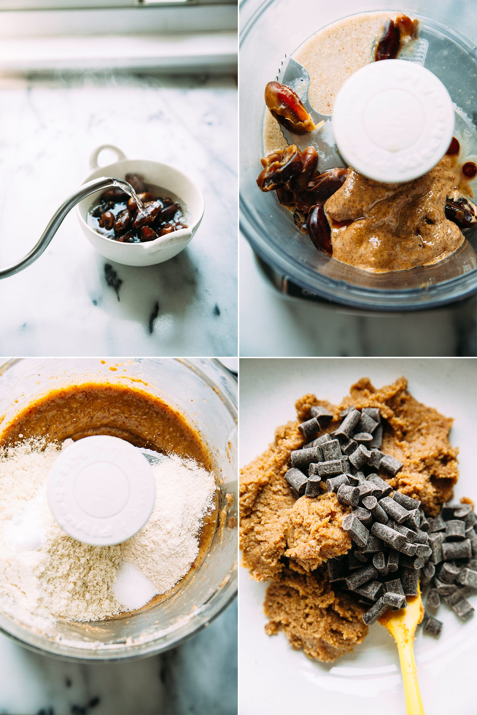 4 photos: hot water being poured over dates in a white bowl, an overhead shot of the food processor with nut butter and dates, another overhead shot of the food processor with almond flour in it, and the last one is an up close shot of the chocolate chunks on top of the cookie batter in a bowl.
