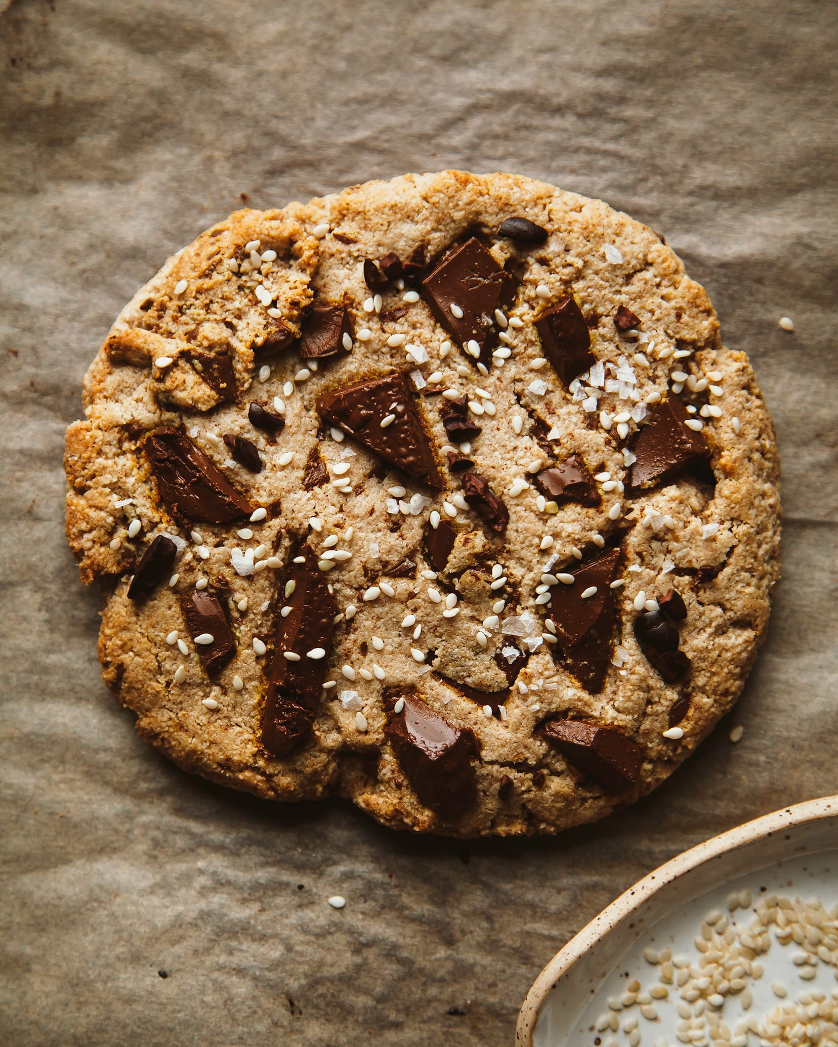 Jumbo grain-free tahini chocolate chunk cookie