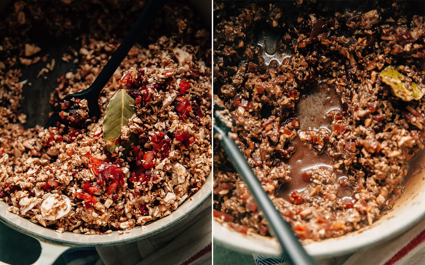 Two images show a finely chopped mushroom mixture being cooked down in a pot.