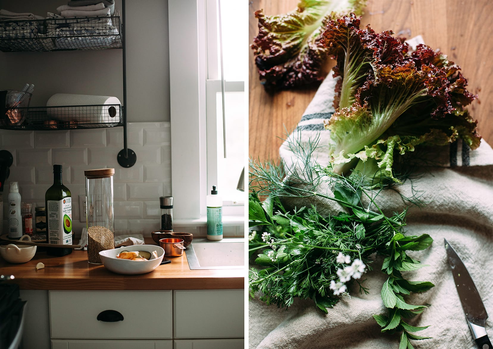 Two images show a kitchen scene and some lettuces and herbs on a wooden cutting board.