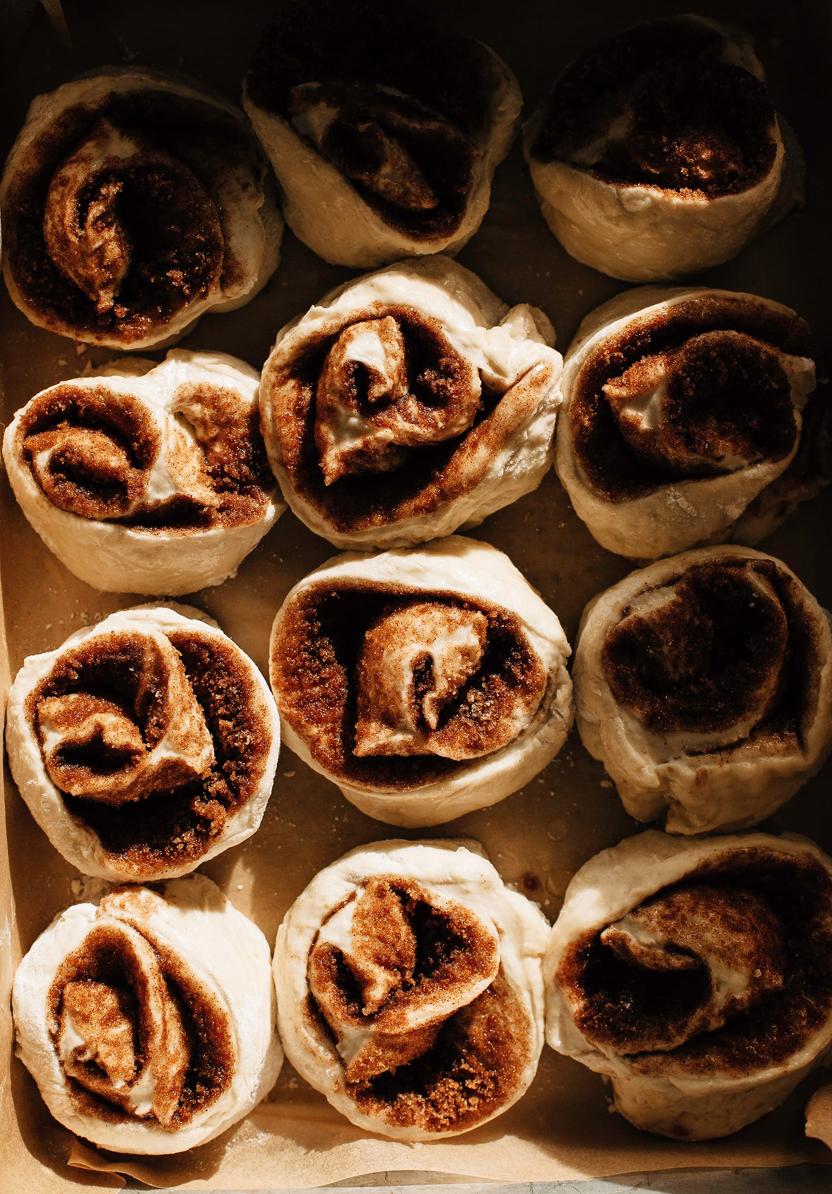 Image shows a pan of cinnamon rolls before baking in direct harsh light.