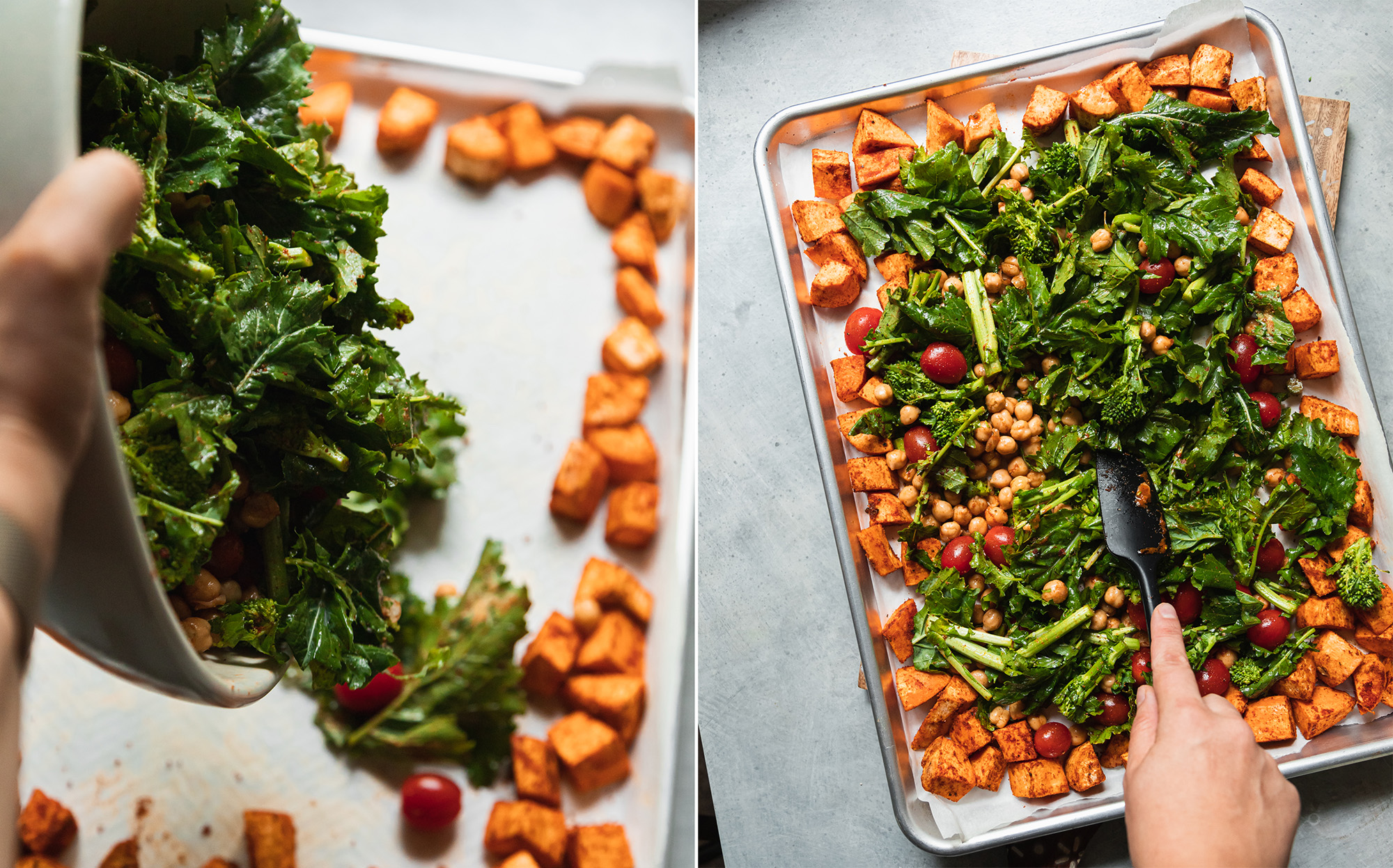 Two images show vegetables being emptied out onto a sheet pan and a hand spreading out vegetables on a sheet pan with a spatula.