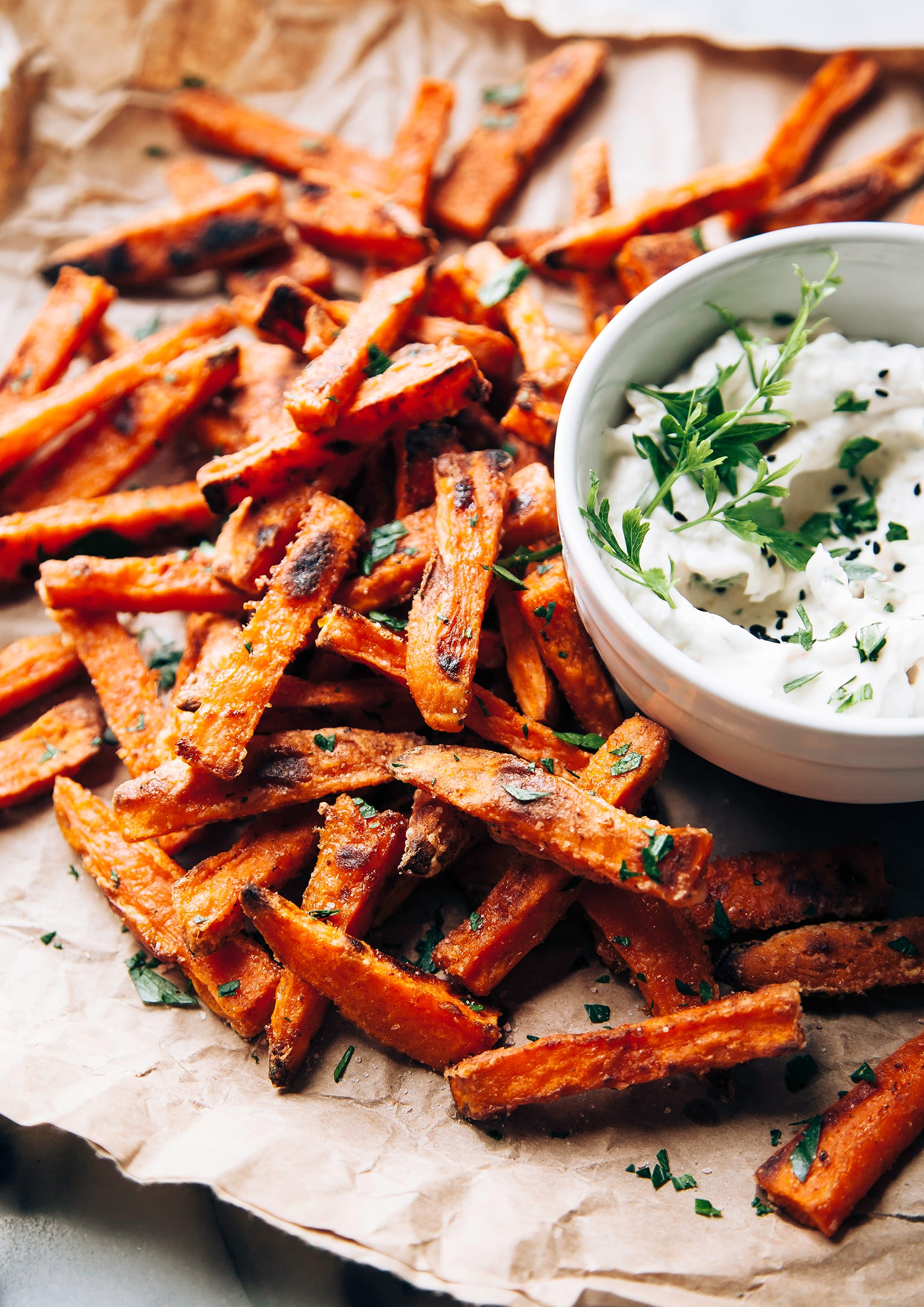 LEGITIMATELY CRISPY BAKED SWEET POTATO FRIES - The First Mess