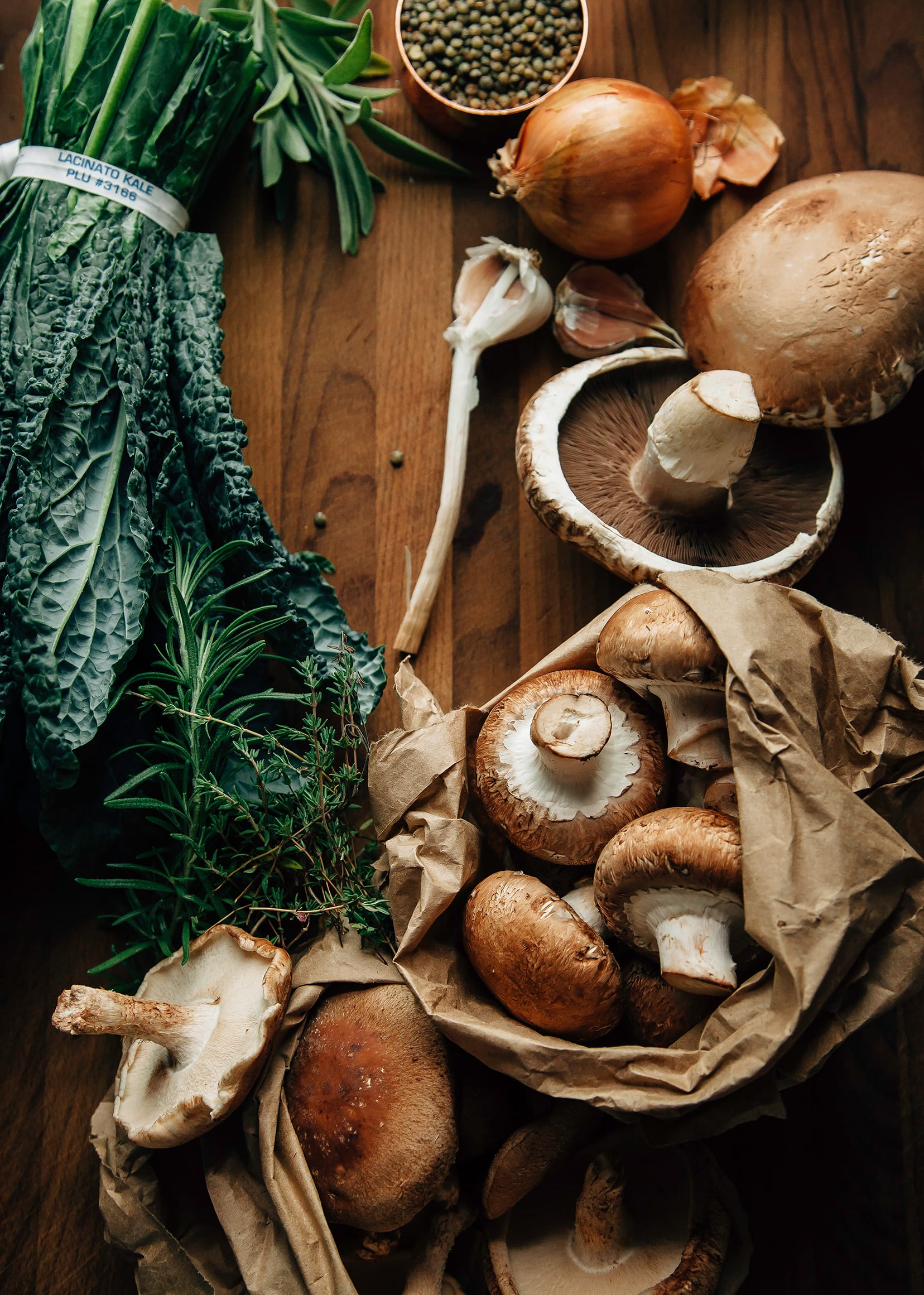 An overhead shot of ingredients for a mushroom gravy pie.