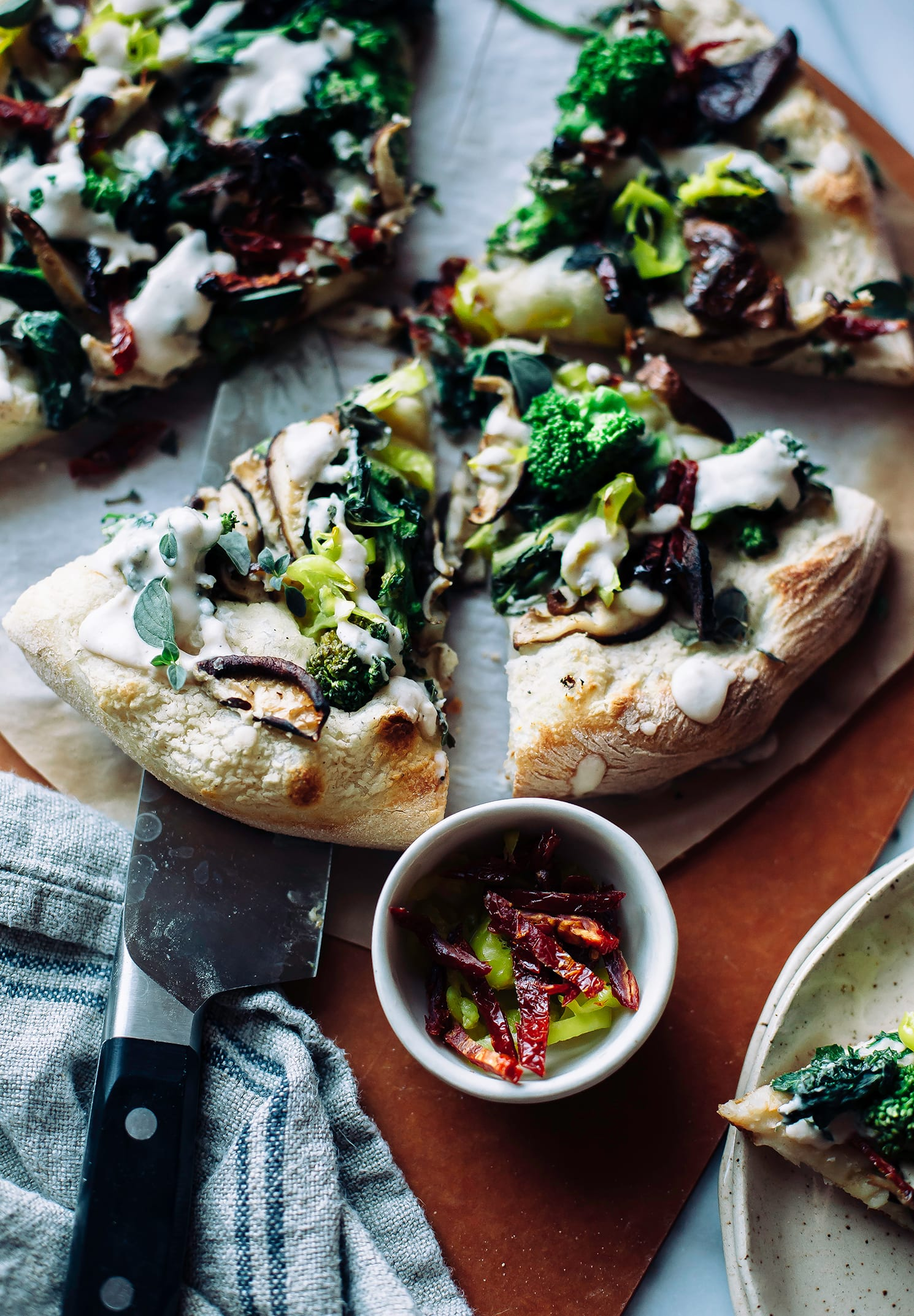 Spicy Vegan White Pizza with Broccoli Rabe & Truffle Cream - The First Mess