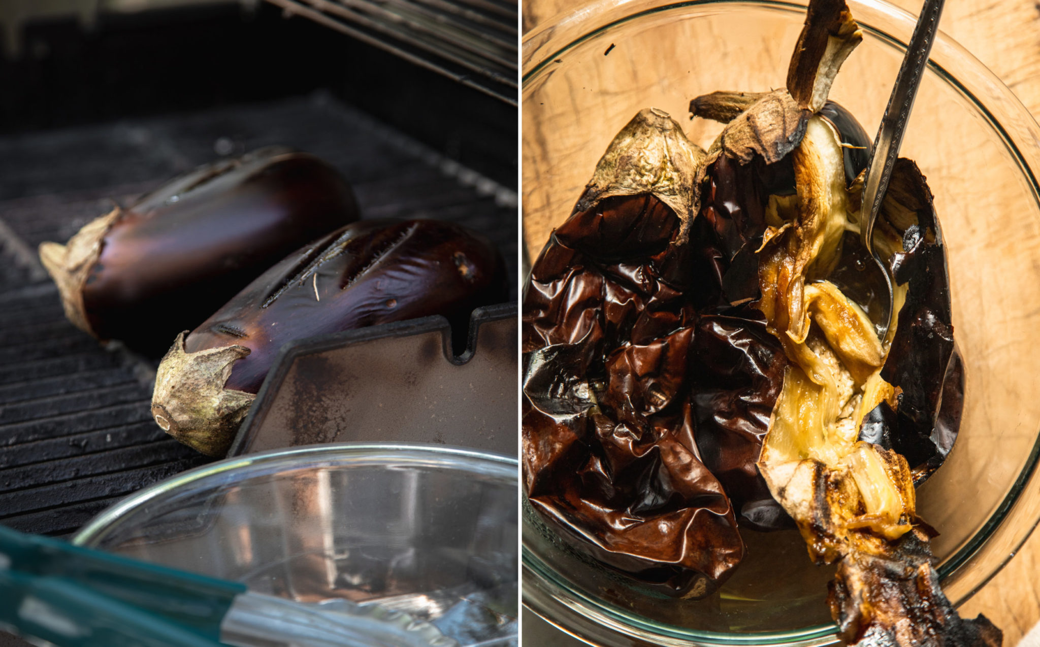 Two images show eggplants on a grill and cooked, totally shrivelled and soft eggplants in a glass bowl.