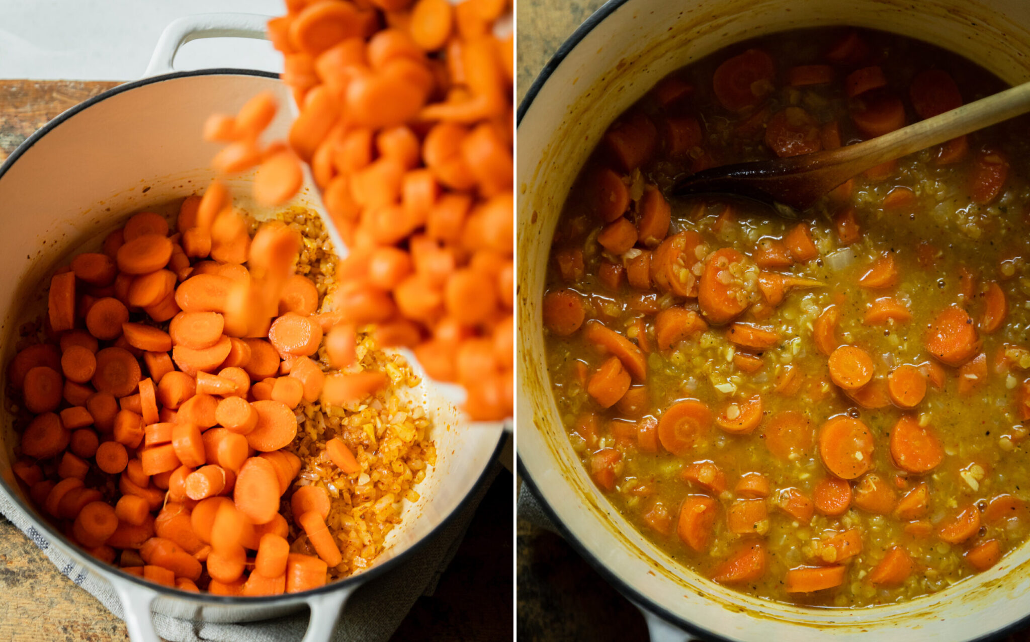 Two images show chopped carrots being poured into a pot and a fully cooked pot of carrots, lentils, and broth.