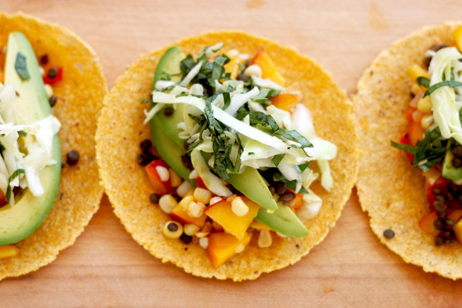 Peachy Corn Tacos with Basil Slaw - The First Mess